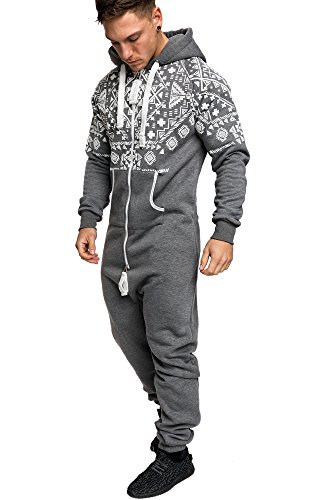 Amaci&Sons Herren Norweger Overall Jumpsuit Onesie Jogging Sportanzug Trainingsanzug Jogginganzug 3009 Anthrazit M