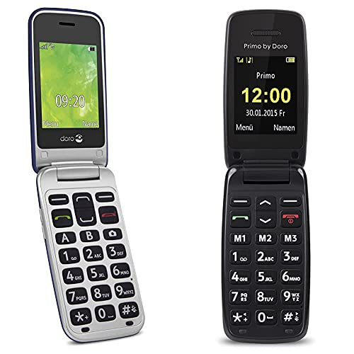 Doro 2414 GSM Mobiltelefon im eleganten Klappdesign blau/Silber und 401 by Doro - GSM Mobiltelefon mit großem beleuchtetem Farbdisplay - schwarz