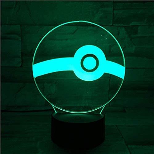Pokemon Ball bunte 3D Nachtlicht Pokemon Ball Home Dekoration Lichter Weihnachtsgeschenke
