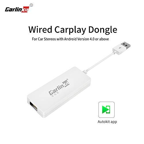 Carlinkit Wired CarPlay Dongle Android Auto für Autoradio mit Android Head Unit, Autokit-App im Auto installieren, Support MirrorScreen/iOS13/SIRI/Online-Upgrade, Nicht für Werks-OEM-Autoradio, Weiß