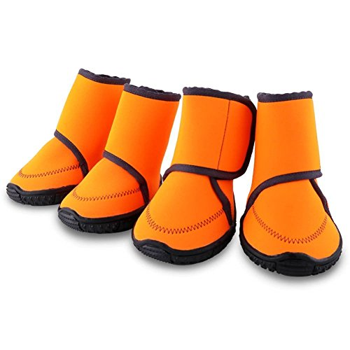 HAVEGET Waterproof Dog Shoes Fluorescent Orange Dog Boots Velcro and Rugged Anti-Slip Sole Paw Protectors for All Weather Comfortable Easy to Wear Suitable for Medium Dog, Orange