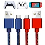 2 Pack 10Feet USB Type C Fast Charging Charger Cable Compatible with Nintendo Switch/Switch Lite, Xbox Series S/Series X Controller PS5 Controller Playstation 5 Charger USB Cable (Blue+RED)