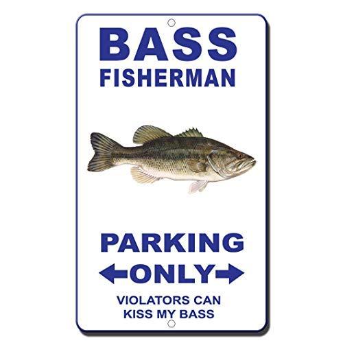 U255uy Vintage Metallschilder Man Cave Decor, 30,5 x 40,6 cm Bass Fisherman Parking Only Violators Can Kiss My Bass 8084 Retro Vintage Schilder Blechschild Vintage Dekor