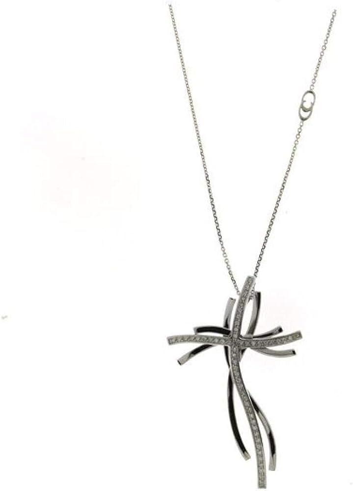 Girocollo chimento per donna in oro bianco 18kt(8,2gr)con pendente  impreziosito da diamanti bianchi 0,22ct 1G07516BB5450