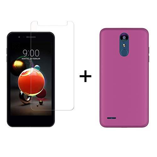 TBOC Pack: Rosa Gel TPU Hülle + Hartglas Schutzfolie für LG K8 (2018) - LG K9 (5.0 Zoll) - Superdünn Flexibel Silikonhülle. Panzerglas Bildschirmschutz in Kristallklar in hohe Qualität.