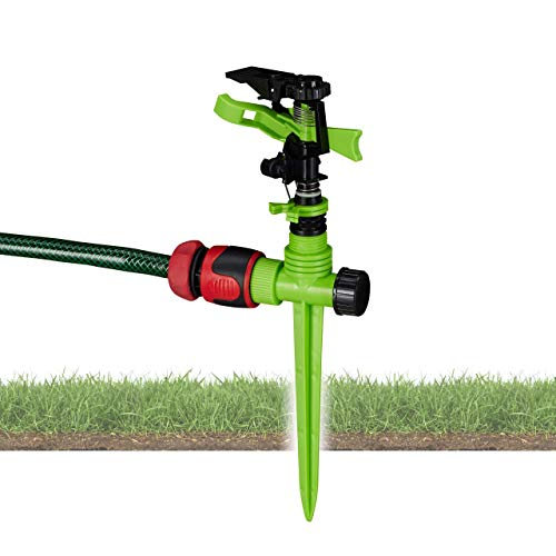 Relaxdays Impulsregner Garten, Bewässerung großer Flächen bis 150m², 7 m Reichweite, 360°, Rasensprenger, grün-schwarz