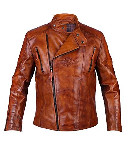 Leather Hustler Negan Brando - Chaqueta de piel para hombre, estilo rockero, para motocicleta, cortavientos, color marrón