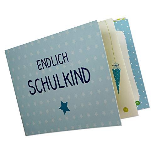 Erinnerungsheft zum ersten Schultag Endlich Schulkind. Kleines Album zur Einschulung - A5/Klammerheftung (Blau)