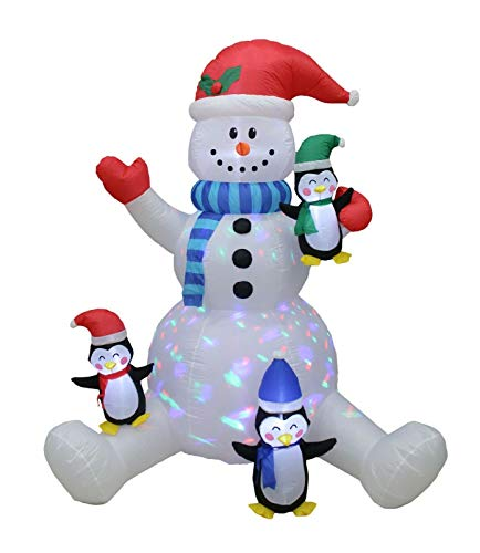 Blow Up Sitting Snowman with 3 Lovely Penguins Christmas Decoration