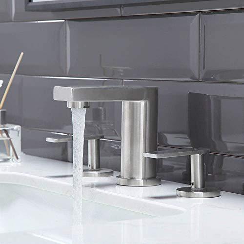 CASILVON Modern 3 Hole 2 Handle Basin Lavatory Stainless Steel Widespread Brushed Nickel Bathroom Faucet, Vanity Sink Bathroom Sink Faucet With Two 3/8