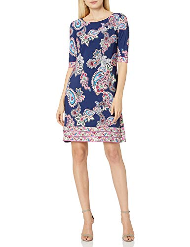 Eliza J Women's Elbow Sleeve Paisley Printed Ground T-Body Shift Dress with Exposed Zipper Casual, Navy Multi, 14