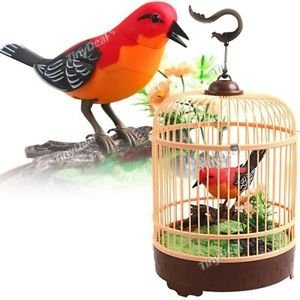 PowerTRC Singing & Chirping Bird in Cage, Realistic Sounds & Movements, Sound Activated Chirp