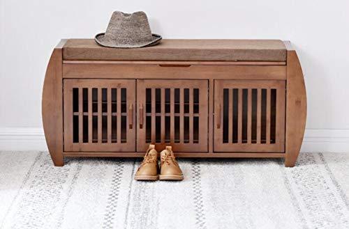 Moderno zapatero de bambú gabinete de entrada organizador de almacenamiento estante del hogar con cojín de bambú re pasillo zapato Stand-default