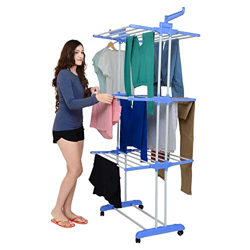 Magna Homewares Advance Series Grandis Plus 2 Poll, 3 Layer Cloth Drying Stand with Braking Wheel System