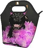 Nero Cucciolo Di Compleanno Di Piume Stampate Isolato Scatola Di Pranzo Ampio Pranzo Tote Pranzo Tote Bag - Leggero, Isolato E Riutilizzabili