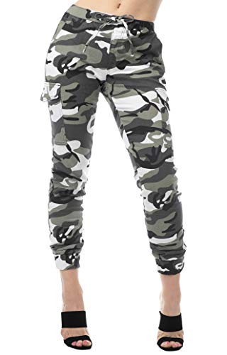 Almost Famous Women's Juniors Cargo Pocket Jogger Drawstring Pant White Camouflage