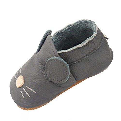 YFCH Baby Jungen/Mädchen Weich Lederschuhe Leder Babyschuhe Krabbelschuhe Lauflernschuhe Hausschuhe, Grau Ratte/Maus, 6-12 Monate(Label: M)