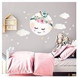Little Deco Wandaufkleber Kinderzimmer Mädchen Mond Wolken Blumen I L - 29 x 31 cm (BxH) I Wandtattoo Wandsticker Babyzimmer selbstklebend Baby Kinder DL265