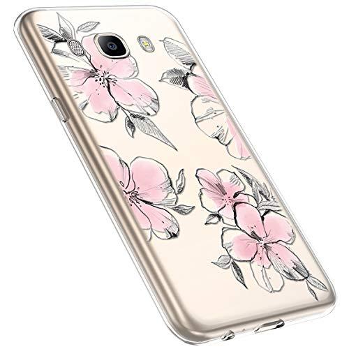 MoreChioce kompatibel mit Samsung Galaxy J7 2016 Hülle,Galaxy J7 2016 Handyhülle Blume,Ultra Dünn Transparent Silikon Schutzhülle Clear Crystal Rückschale Tasche Defender Bumper,Blumenzweig #28
