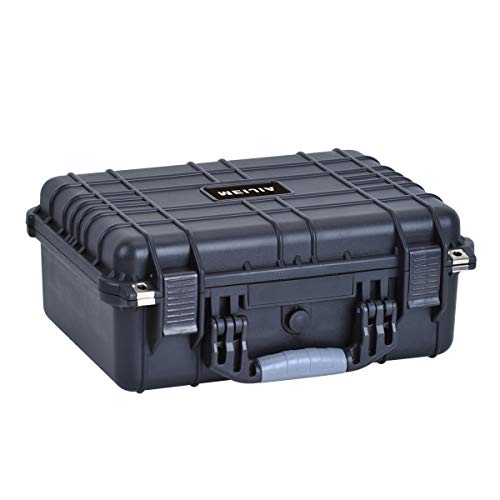 MIEJIA Portable All Weather Waterproof Camera Case with Foam,Fit Use of Drones,Camera,Equipments,Pistols,Elegant Black,15.98x12.99x6.85inches