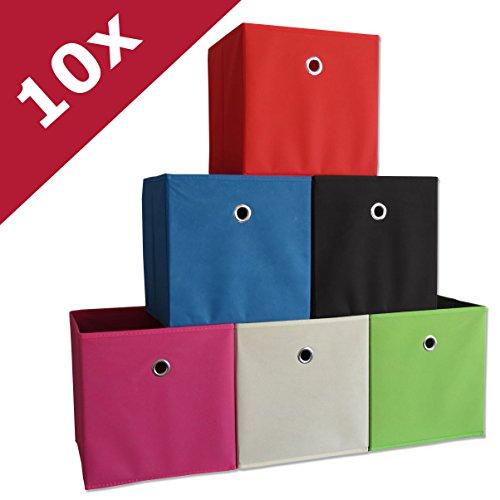 "VCM 10er Set Faltbox Klappbox Sammelbox Stoffbox Regalbox Regalkorb ohne Deckel Dunkelbraun 28 x 27 x 27 cm ""Boxas"""