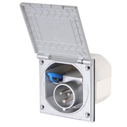 wamovo CEE Aussensteckdose Silber Spritzwasser geschützt IP 44 200-250V, 16A, 3 polig für Wohnwagen, Wohnmobil oder Boot