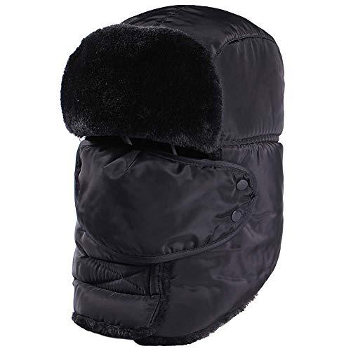 Joywow Gorro de invierno unisex, con orejeras de invierno, atrapador, sombrero de bombardero con máscara resistente al viento para patinaje, esquí u otras actividades al aire libre, color negro