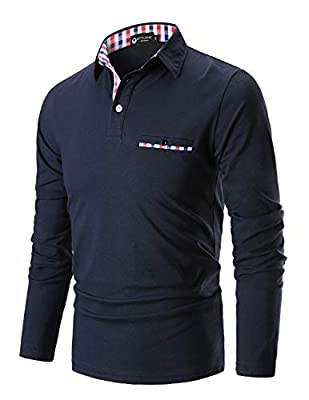 STTLZMC Polo Shirts for Men Long Sleeve Casual Fit Plaid Collar T-Shirts,Navy Blue,X-Large