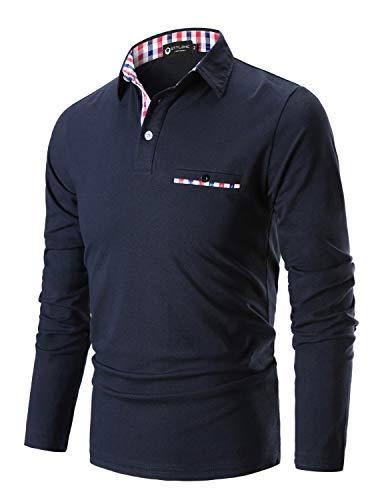 STTLZMC Mode Polo Homme Manche Longue Golf Poloshirt Coton Casual Col Contrasté Tops,Bleu,X-Large
