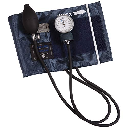 MABIS DMI Healthcare Precision Series Aneroid Sphygmomanometer Manual Blood Pressure Monitor with Zippered Carrying Case, Cuff Size 13 to 20 inches, Large Adult, Blue, One