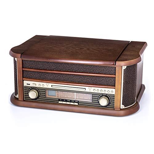 Camry CR 1111 Radio aund Schallplattenspieler mit CD/MP3/USB und Aufnahmefunktion braun