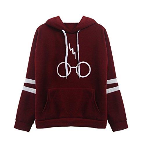 Damen Langarm rundhals Kapuzenpullover Harry Potter Blitz Gläser Druck Hoodie Tasche Sweatshirt Pullover mit Kapuzen (EU36-(S), Rotwein)