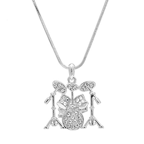 Spinningdaisy Silver Plated Crystal Drum Set Necklace
