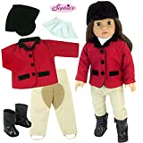 18 Inch Doll Riding Outfit & Black Doll Boots, Doll Clothing Fits American Girl Dolls, 5 Pc. Set Includes Boots