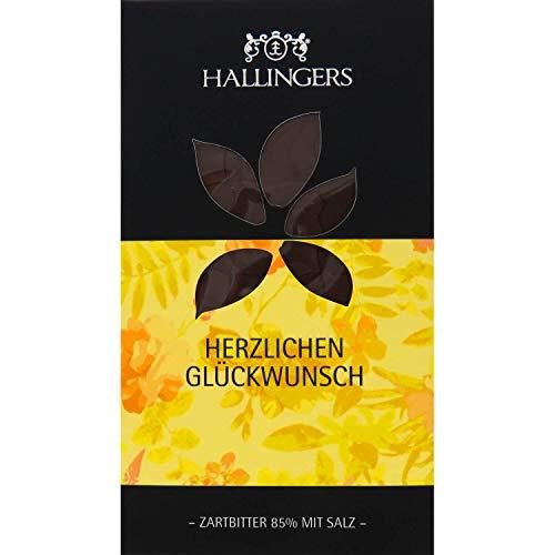 Hallingers Zartbitter-Schokolade 85% mit Salz hand-geschöpft (90g) - Herzlichen Glückwunsch (Softfeel-Karton) - zu Geburtstag & Glückwunsch