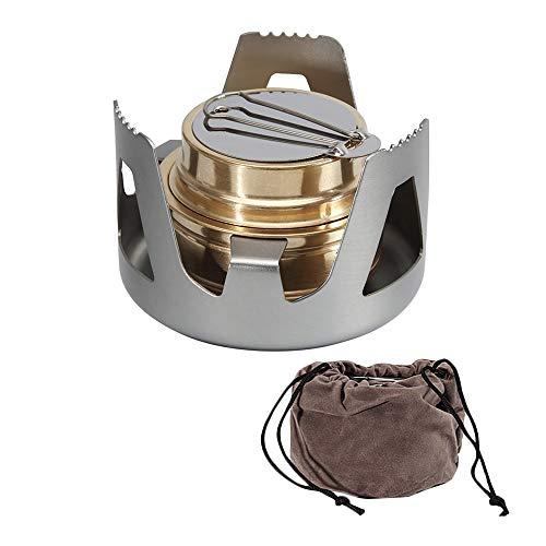 Wankd Mini brûleur à spirale en cuivre avec support en aluminium pour camping, randonnée, voyage, gris, 9cm*17cm*4cm