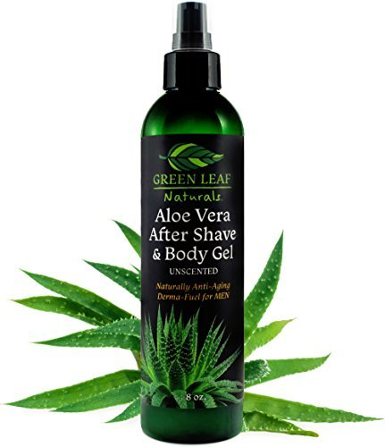 Aloe Vera After Shave & Body Gel - Unscented - Naturally Anti-Aging Derma-Fuel for Men by Green Leaf Naturals - Pump Dispenser Included - 8 Ounces