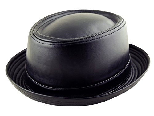 Fedora Chapeau en similicuir unisexe pour adulte Style Breaking Bad Heisenberg Noir - Noir - Small