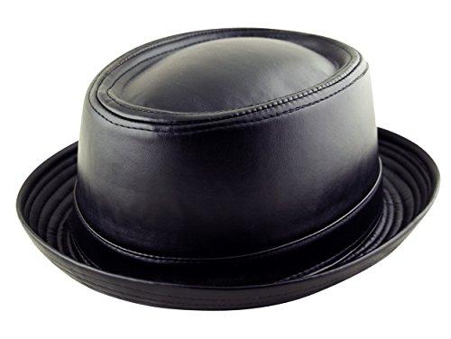 Fedora Bandeau en cuir synthétique pour adulte pour tarte au porc Unisexe (style Breaking Bad Heisenberg) Noir - Noir - Small