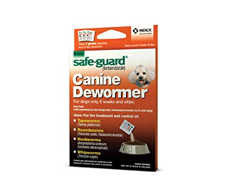Safe-Guard (fenbendazole) Canine Dewormer for Dogs, 1gm pouch (ea. pouch treats 10lbs.)