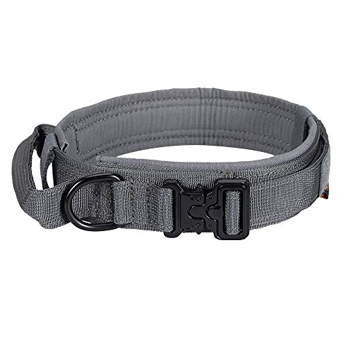 EXCELLENT ELITE SPANKER Tactical Dog Collar Nylon Adjustable K9 Collar Military Dog Collar Heavy Duty Metal Buckle with Handle (Grey-L)
