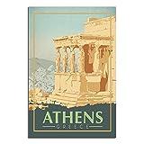 ZHBIN Griechenland Vintage Reise-Poster Athens Acropolis