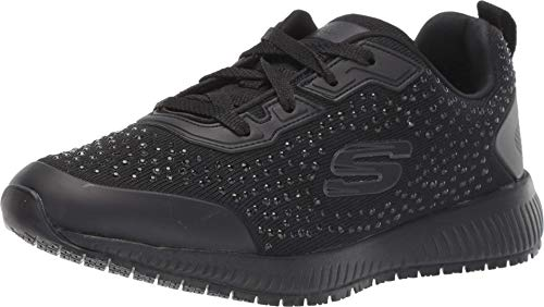 Skechers womens Lace Up Athletic Food Service Shoe, Black, 8 US