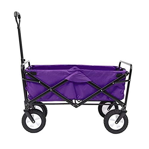 HDGZ Bollerwagen faltbar Handwagen klappbar Faltwagen Transportwagen Strandwagen Gartenwagen groß für alle Gelände mit Seitentasche Getränkehalter&(D)