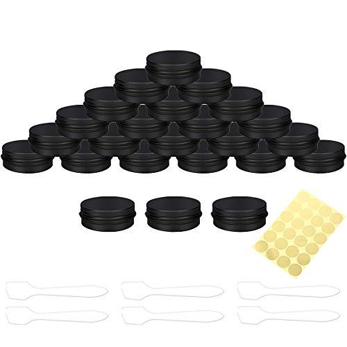Hnmedia 24 Stuks 30ml Cosmetica Container Potten Aluminium Tin Potten met Schroefdeksels voor Crème, Nagel Poeder, Mini Kaarsen, Sieraden Opslag, Inclusief 1 Vellen Label Stickers en 6 Mini Spatel