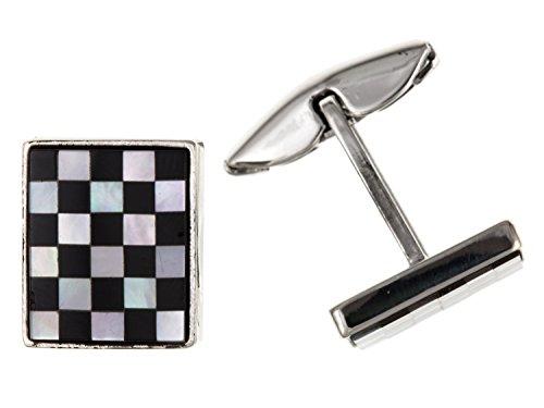 Onyx et nacre Boutons de manchette carré – Argent Sterling 925 – Livré dans une boîte cadeau gratuit ou sac cadeau