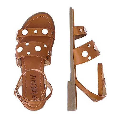 SANDALUP Rivets Studded Flat Sandals Open Toe Summer#039s Sandals for Women Brown 08