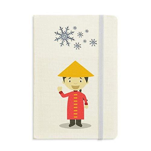 Roter langes Kleid aus China Cartoon Notizbuch dickes Tagebuch Schneeflocken Winter