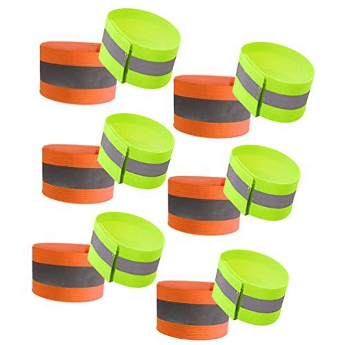 LIOOBO 12 stücke nachtlauf Strap reflektierende armbänder Outdoor Sports armbänder für Sicherheit gehen wandern joggen Laufen (Jede color6)