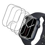 QULLOO Protector de Pantalla para Apple Watch Series 7 45mm / Apple Wtach Series 6/SE/5/4 44mm,[4 Pack] Ultra Delgado Flexible HD Clear TPU Pantalla Saver Protector Sin Burbujas Anti-Scratch Película